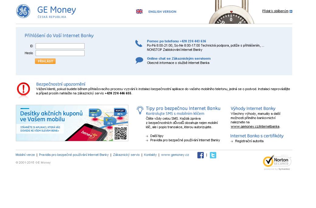 Jak se přihlásit do bankovnictví GE Money bank?